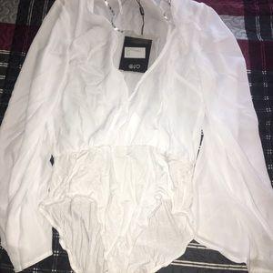 White long sleeve bodysuit size 10